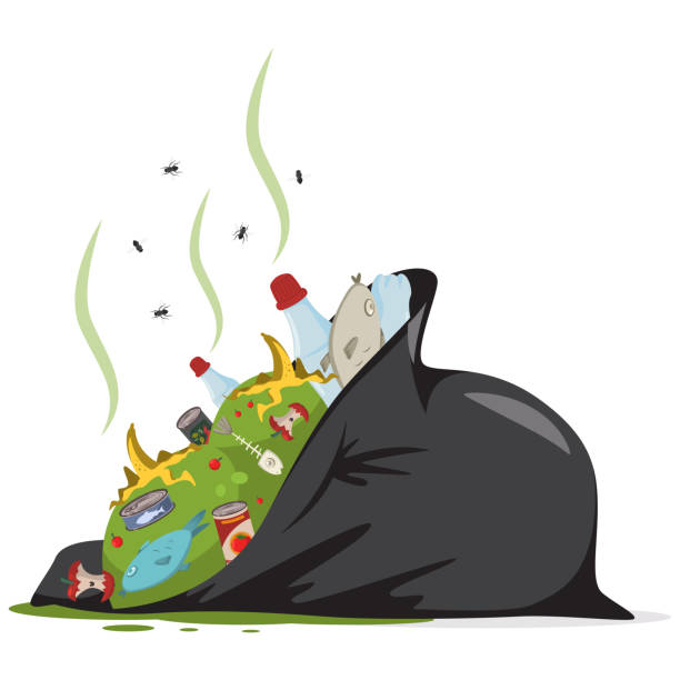 bildbanksillustrationer, clip art samt tecknat material och ikoner med svart sopsäck med matavfall, plast, skräp och skräp. vektor tecknad platt illustration isolerade på vit bakgrund. - food waste