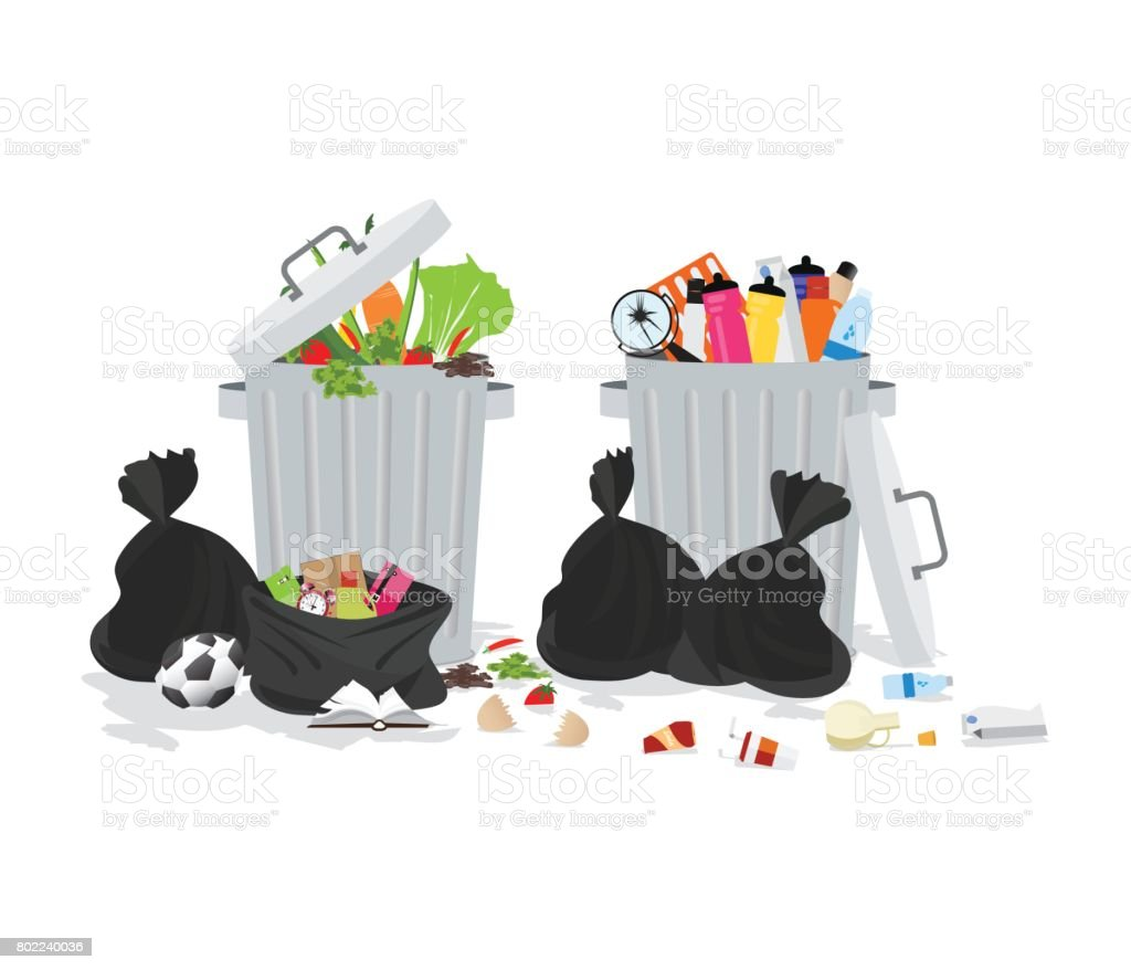Garbage can full of overflowing trash. vector art illustration