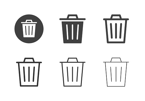 Garbage Can Icons Multi Series Vector EPS File.