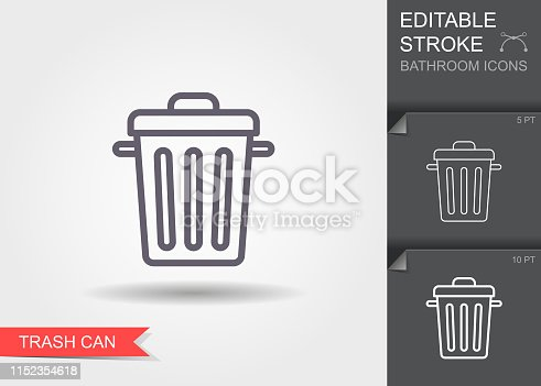 istock Garbage can. Outline icon with editable stroke. Linear symbol with shadow 1152354618