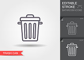 Garbage can. Outline icon with editable stroke. Linear symbol with shadow