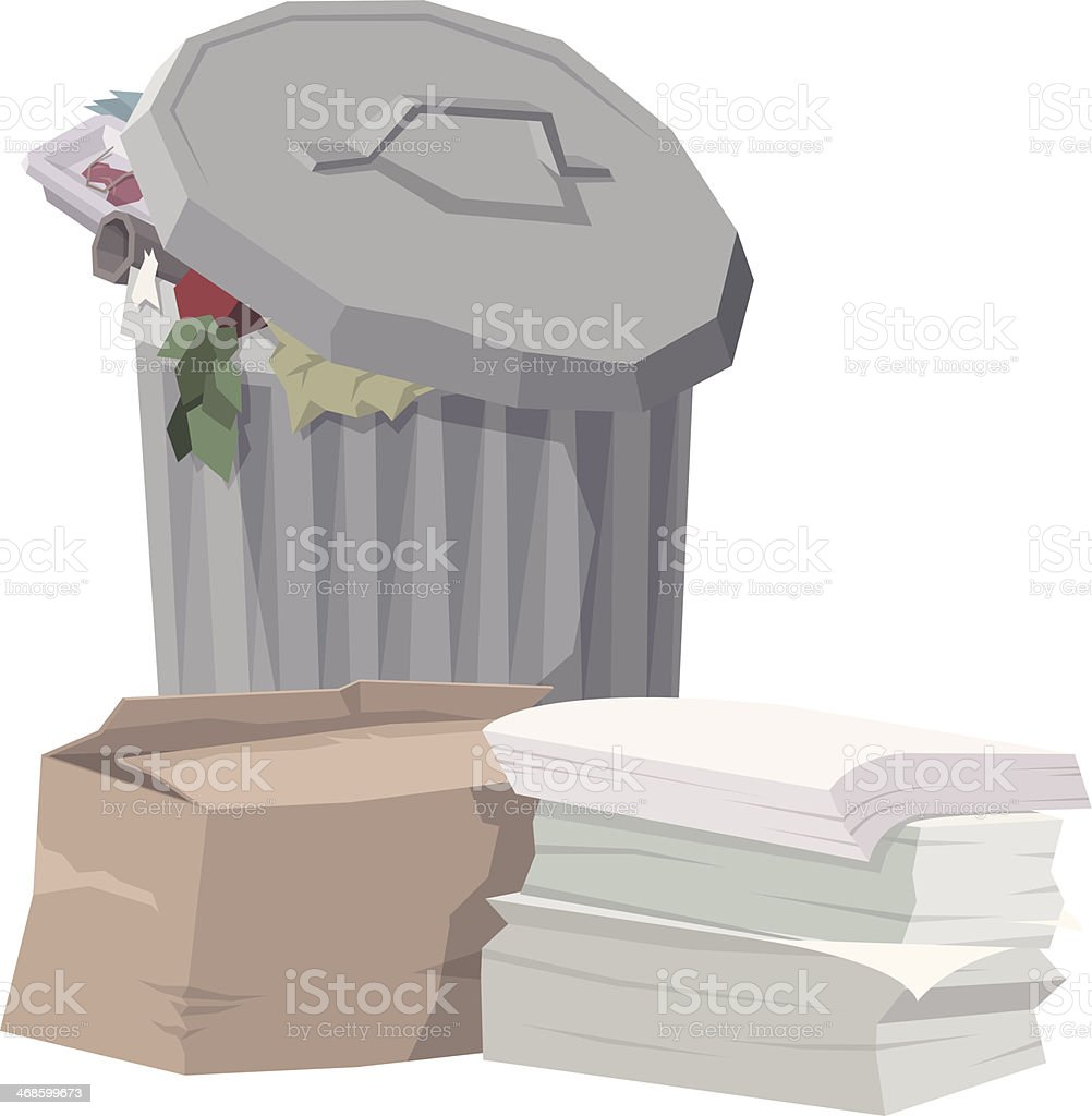 Garbage can royalty-free garbage can stock vector art & more images of box - container