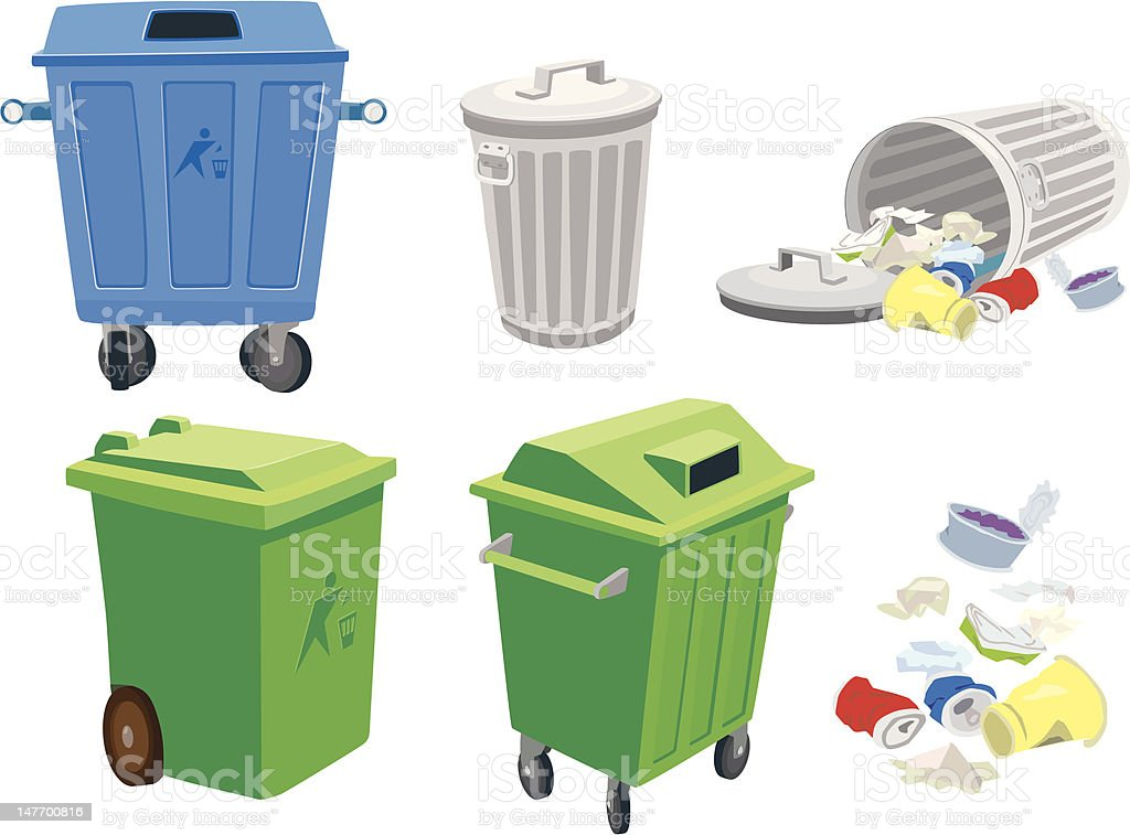 Garbage cans and basket vector art illustration