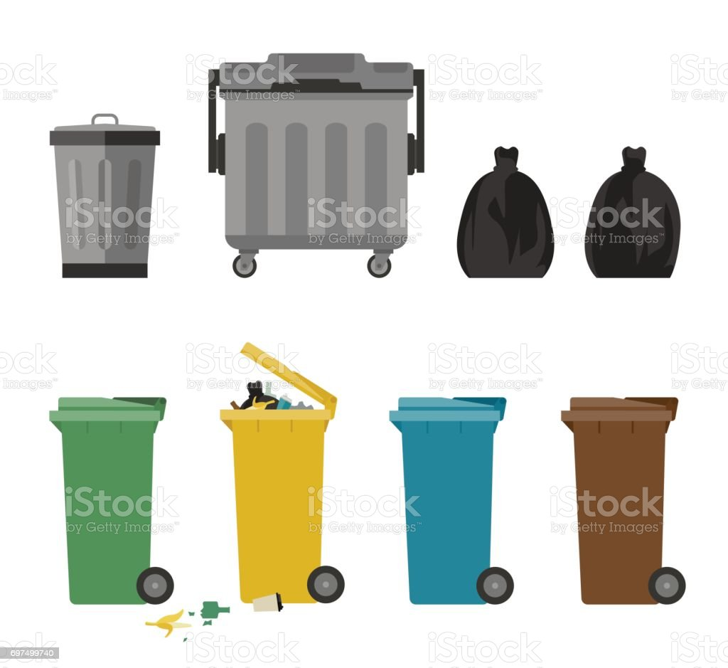 Garbage cans flat icons royalty-free garbage cans flat icons stock illustration - download image now