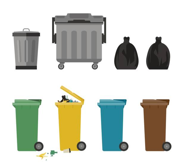 Garbage cans flat icons vector art illustration