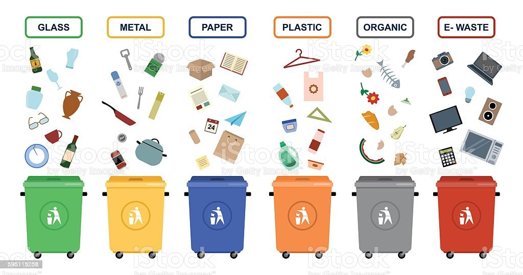 Garbage cans vector flat illustrations. vector art illustration
