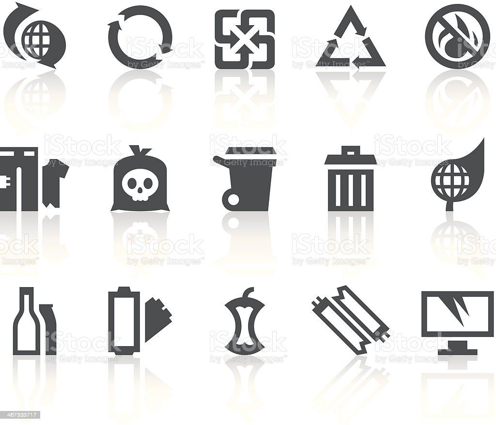 Garbage Classification Icons | Simple Black Series vector art illustration