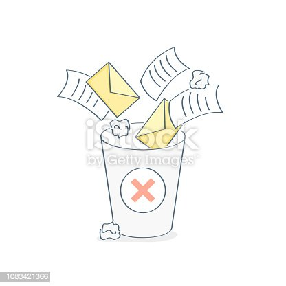 Garbage collection and removal of unnecessary files, clearing of spam, letters, papers and documents to the trash bin. Colorful vector illustration in flat outline cartoon style.
