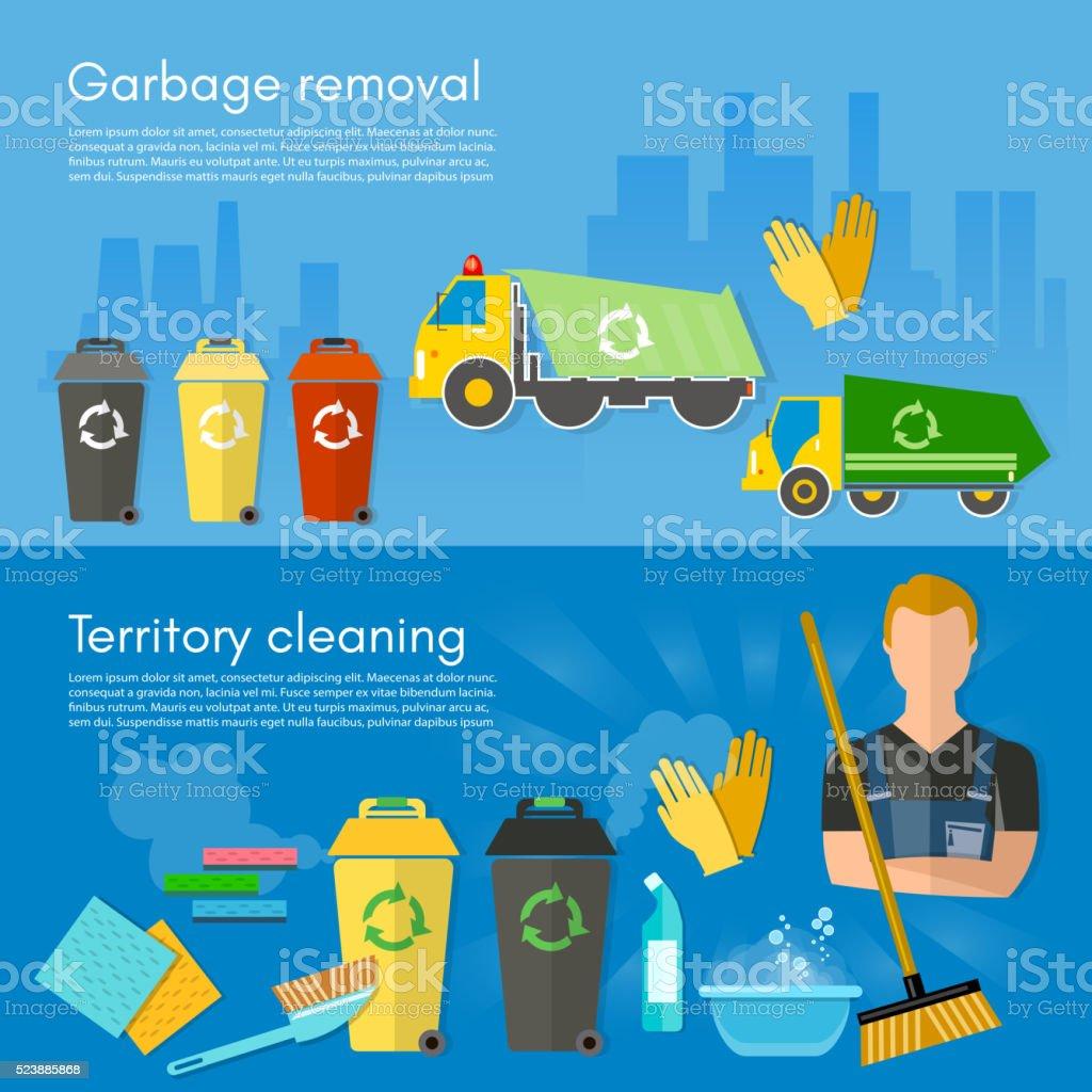 Garbage collection banner garbage sorting scavenger team vector art illustration