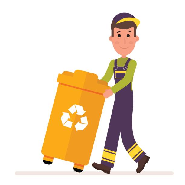 Garbage Collection Service Man In A Uniform Takes Out Container With Flat Vector Collector