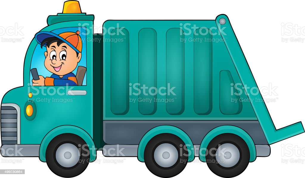 Garbage collection truck theme image 1 vector art illustration