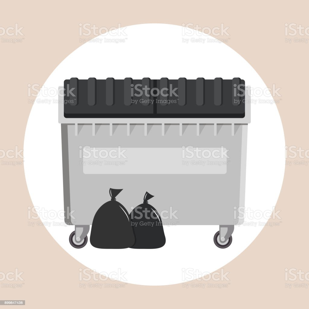 garbage container Flat Design vector art illustration