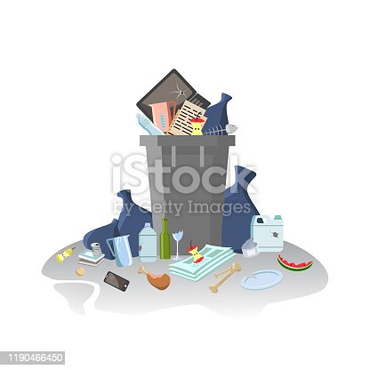 Garbage container with unsorted trash. Rubbish and trash bags lying around dump. Waste managment Pile of Smelling Decaying Garbage Left Lying Around. Isolated on white. Vector illustration