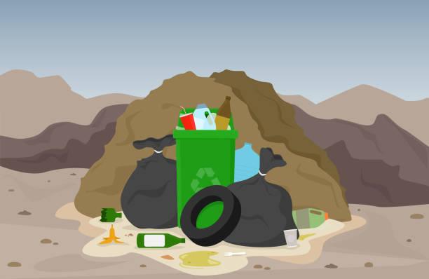 Garbage dump vector illustration. Waste landscape background. vector art illustration