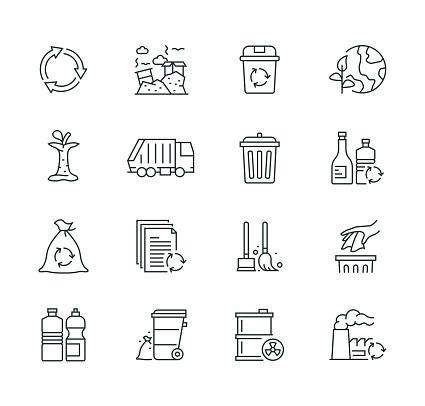 Garbage Elements Thin Line Icon Set Series