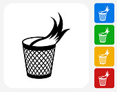 Garbage Fire Icon. This 100% royalty free vector illustration features the main icon pictured in black inside a white square. The alternative color options in blue, green, yellow and red are on the right of the icon and are arranged in a vertical column.