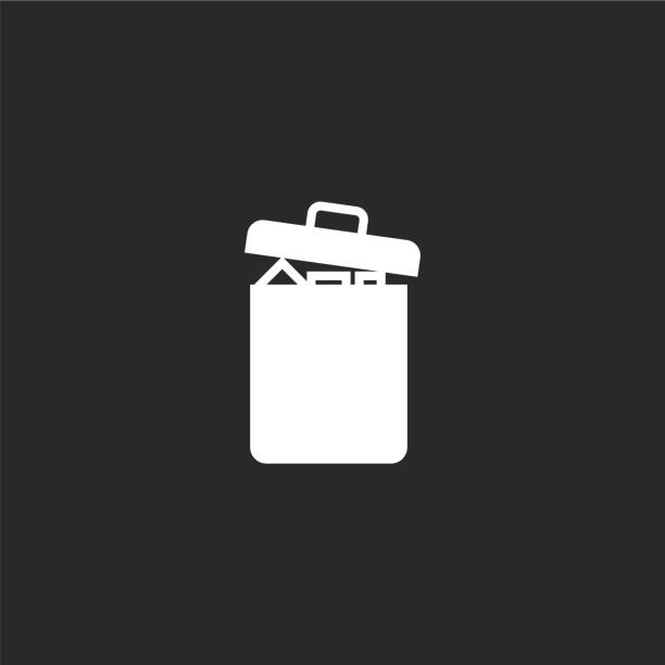 garbage icon. Filled garbage icon for website design and mobile, app development. garbage icon from filled essential compilation collection isolated on black background. garbage icon. Filled garbage icon for website design and mobile, app development. garbage icon from filled essential compilation collection isolated on black background. plastic pollution stock illustrations