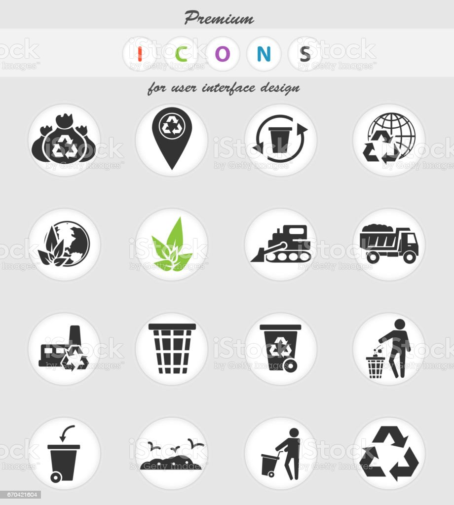 garbage icon set vector art illustration