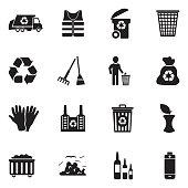Garbage Icons. Black Flat Design. Vector Illustration.