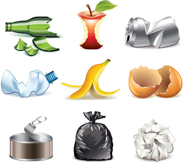 Garbage icons detailed vector set vector art illustration