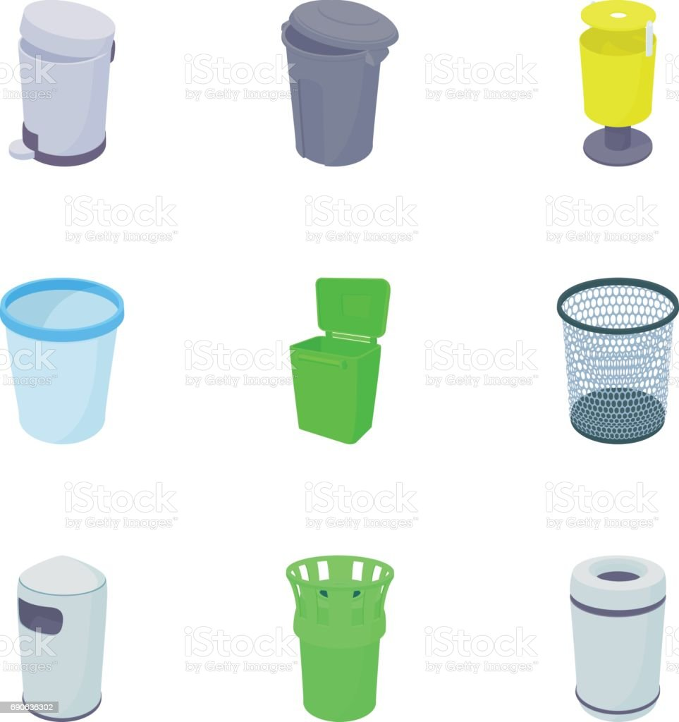 Garbage icons set, cartoon style vector art illustration