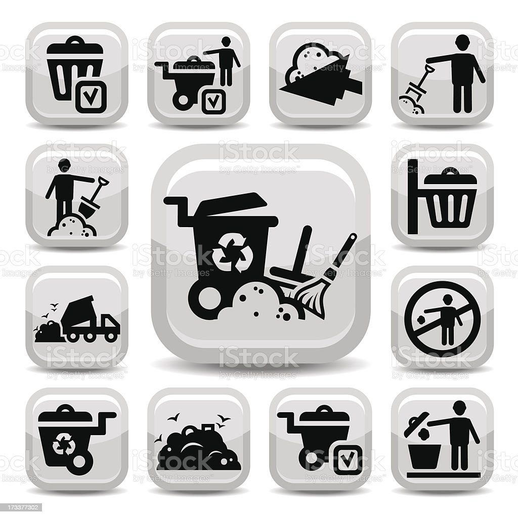 garbage icons set royalty-free garbage icons set stock vector art & more images of biodegradable