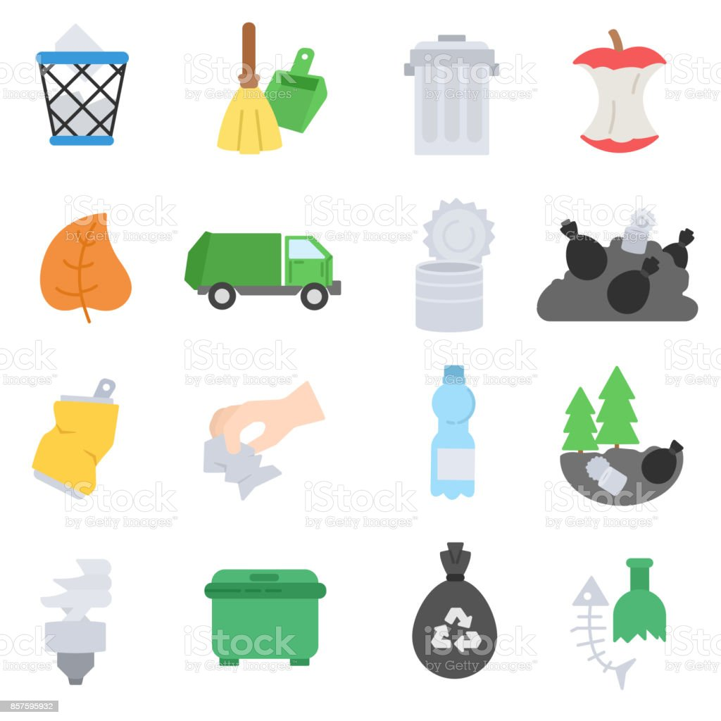 Garbage icons set. vector art illustration
