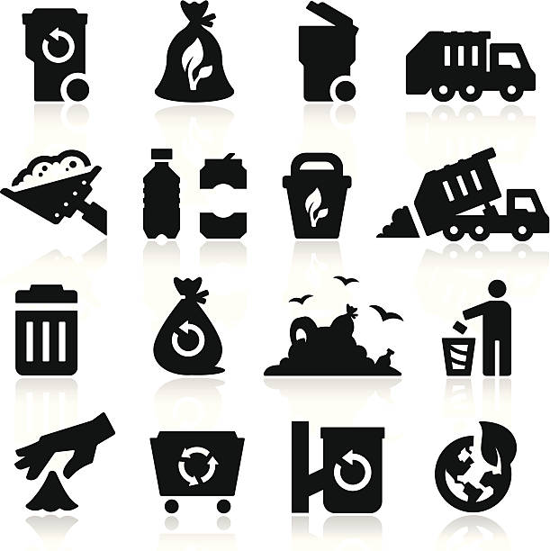 Garbage Icons vector art illustration