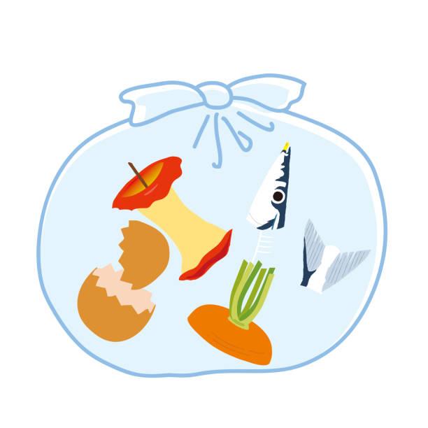 ilustraciones, imágenes clip art, dibujos animados e iconos de stock de basura en una ilustración vectorial de bolsa de basura - leftovers