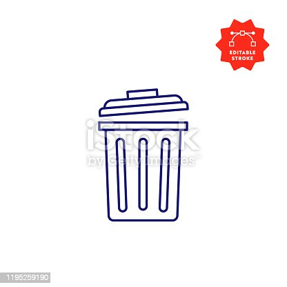 Recycle Bin Icon with Editable Stroke and Pixel Perfect.
