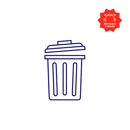 Garbage Line Icon with Editable Stroke and Pixel Perfect.