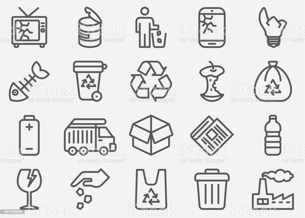 Garbage Line Icons vector art illustration
