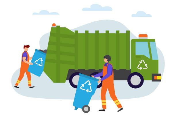 職場のゴミ屋さん。都市廃棄物除去サービスのためのローリー。 - 集める点のイラスト素材/クリップアート素材/マンガ素材/アイコン素材