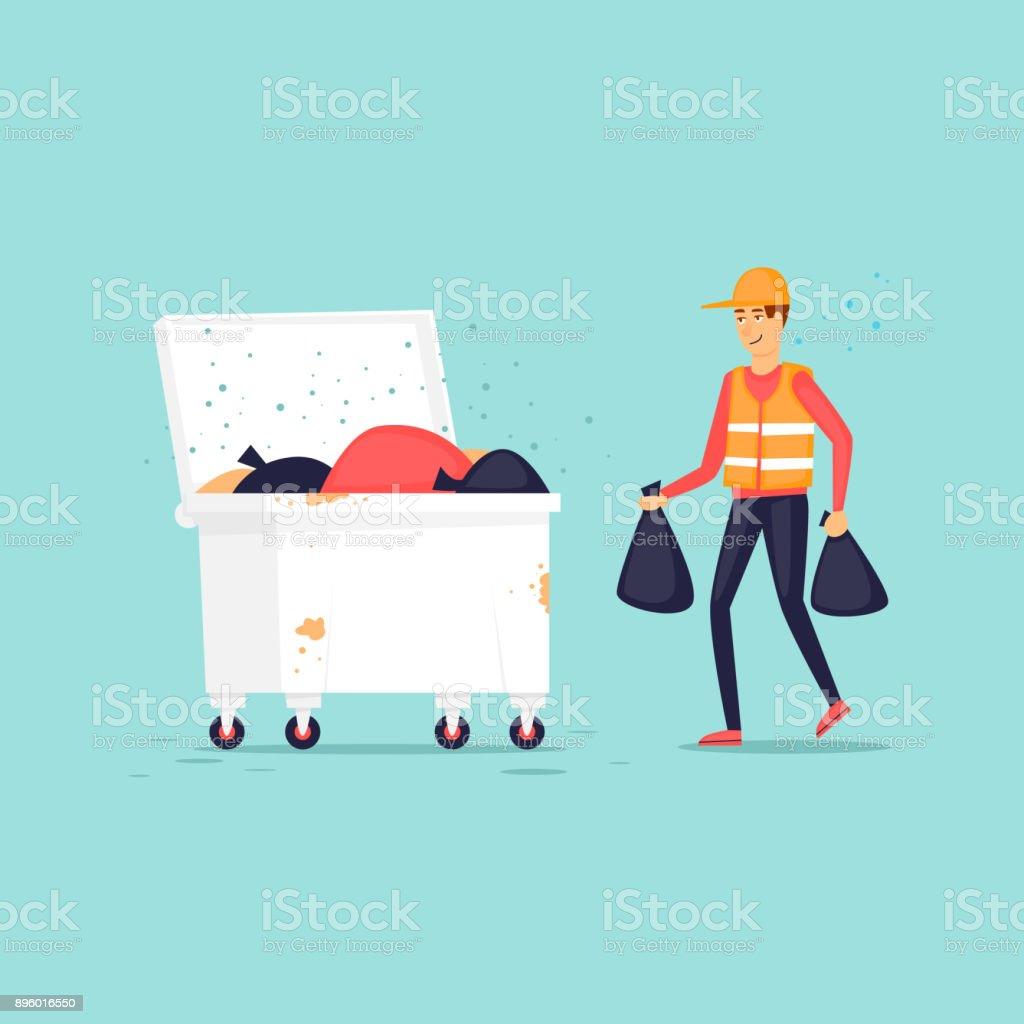 Müllmann wirft Müll in den Mülleimer. Flaches Design-Vektor-Illustration. – Vektorgrafik