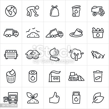 A set of garbage management and recycling icons. The icons include a person picking up trash, a garbage can, garbage bag, waste removal, garbage truck, landfill, pollution, garbage, recycle bin, dumpster, trash, incinerator and other related themes.