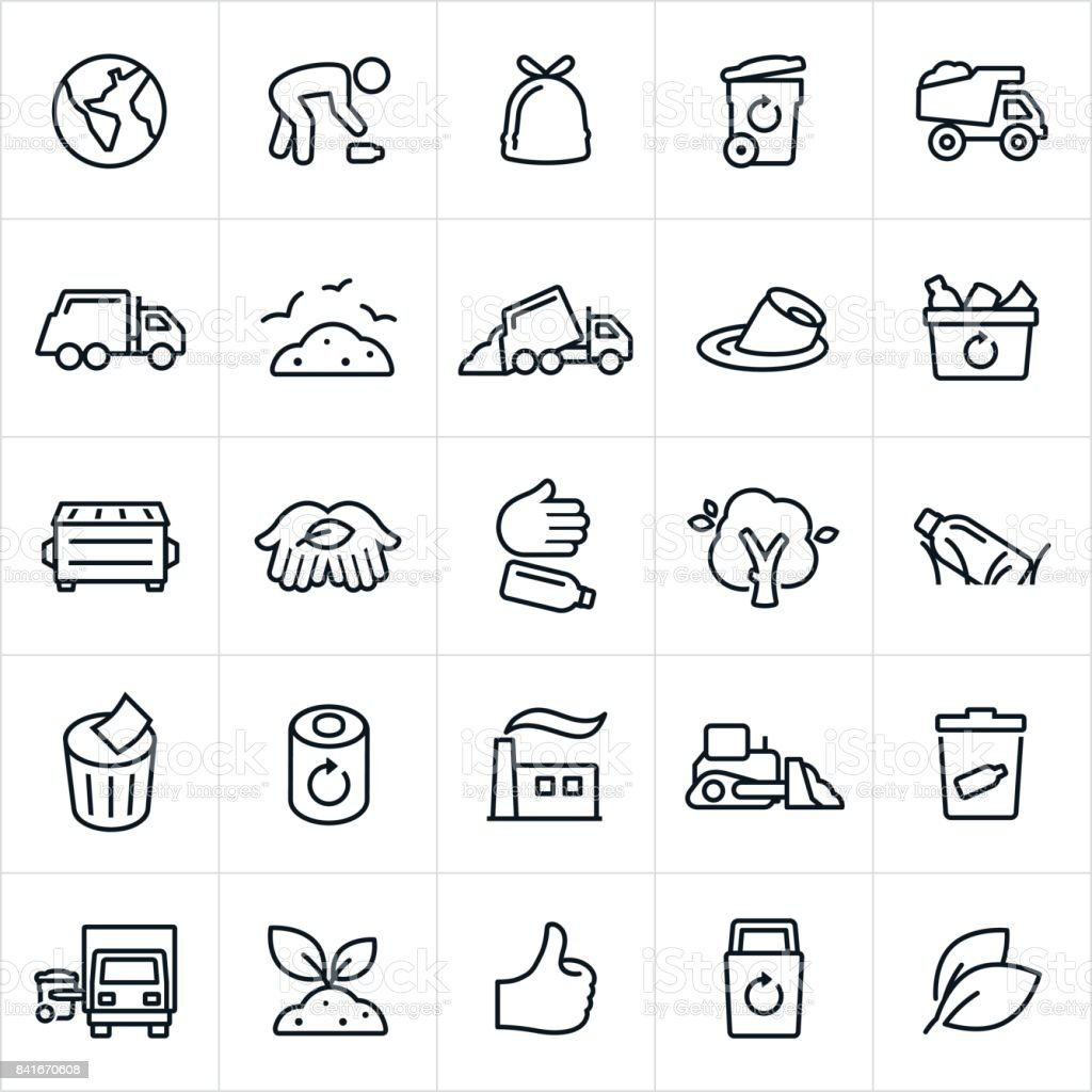 Garbage Management and Recycling Icons vector art illustration