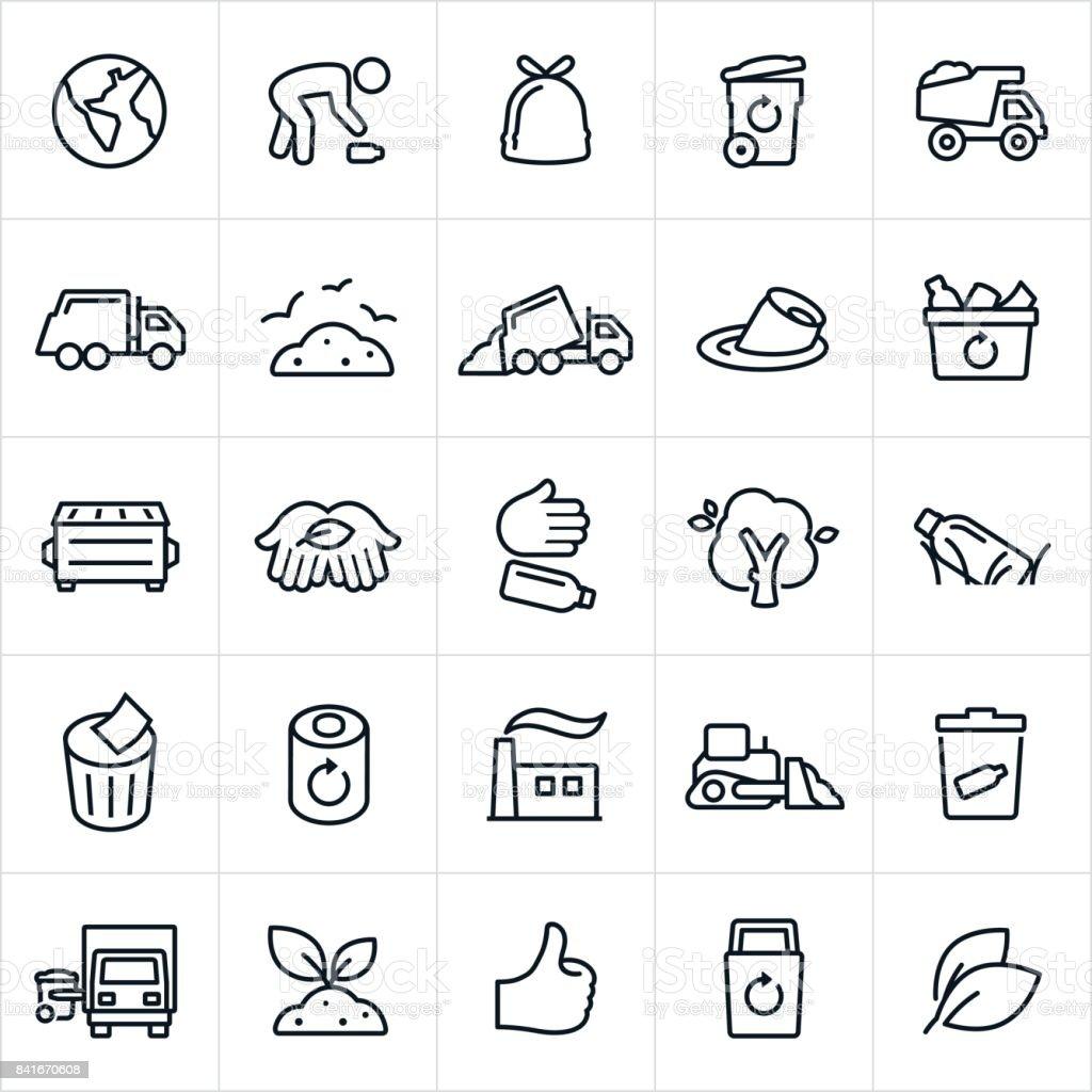 Manejo de basura y reciclaje de los iconos - ilustración de arte vectorial