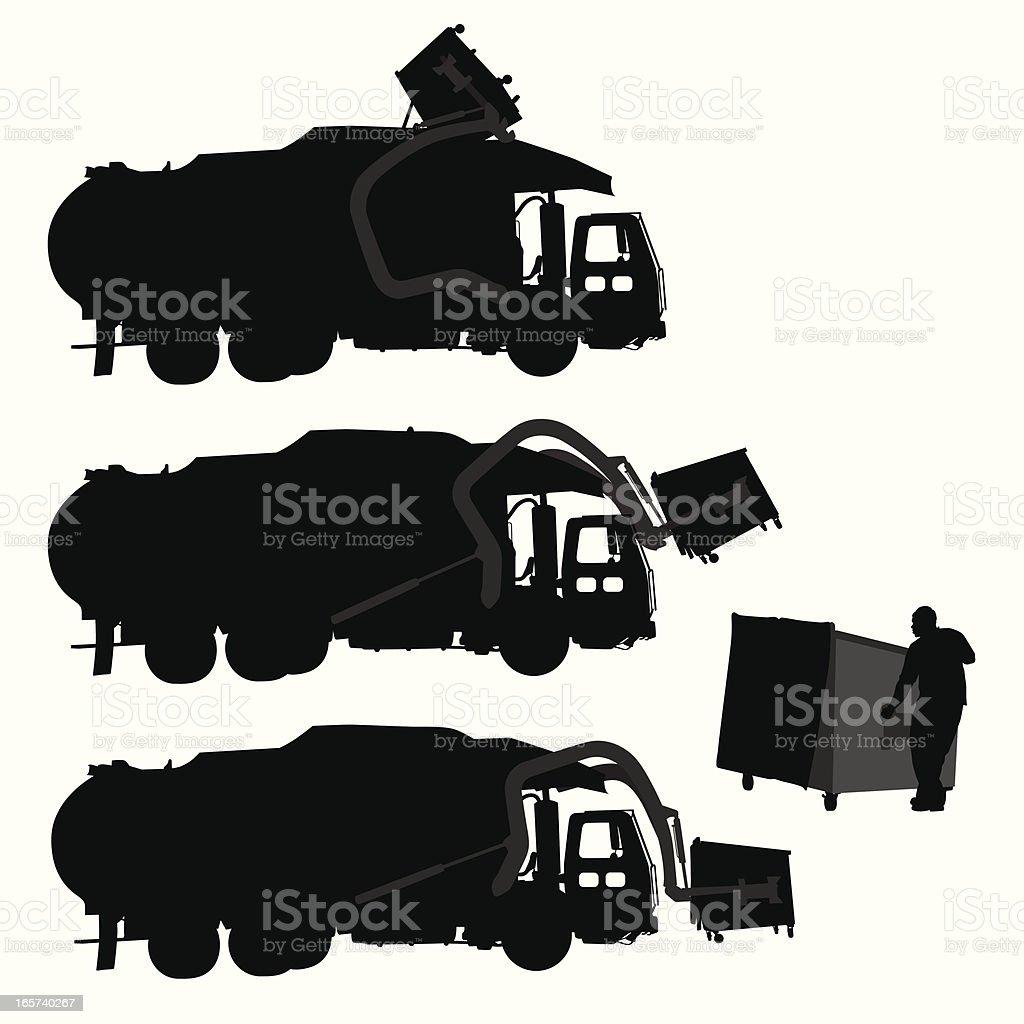 Garbage Pickup Vector Silhouette vector art illustration