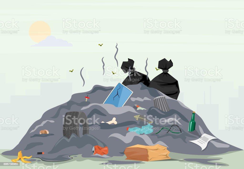Pila de la basura - ilustración de arte vectorial
