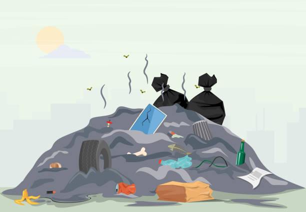 bildbanksillustrationer, clip art samt tecknat material och ikoner med soporna högen - food waste