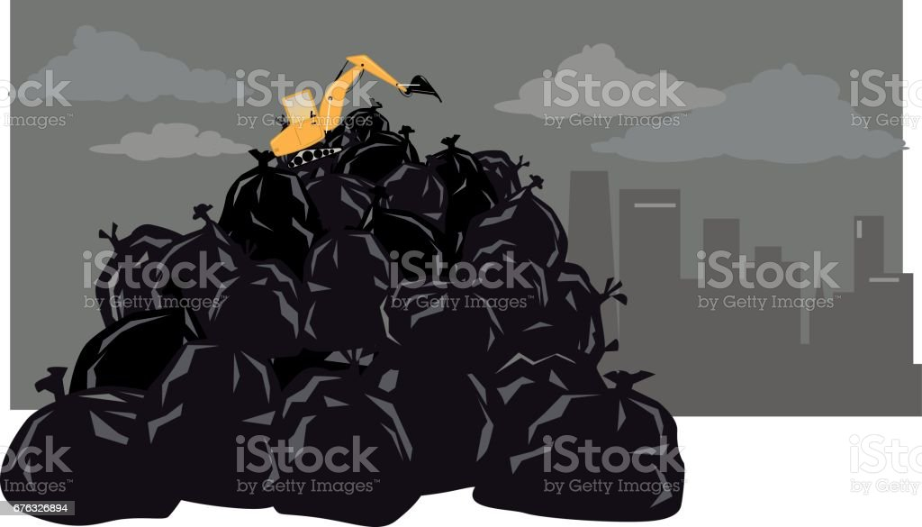 garbage problem vector art illustration