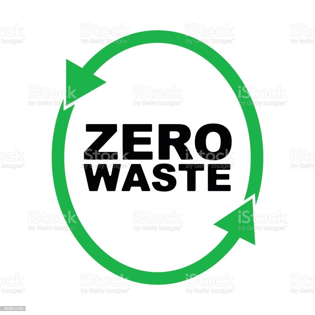 Garbage Processing And Recycling Symbol Or Badge Of Zero Waste