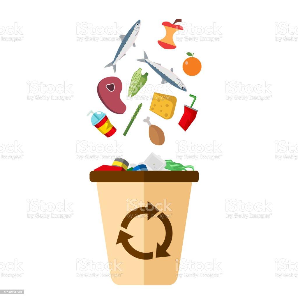 Lixo Recicle Bin branco fundo Vector imagem - ilustração de arte em vetor