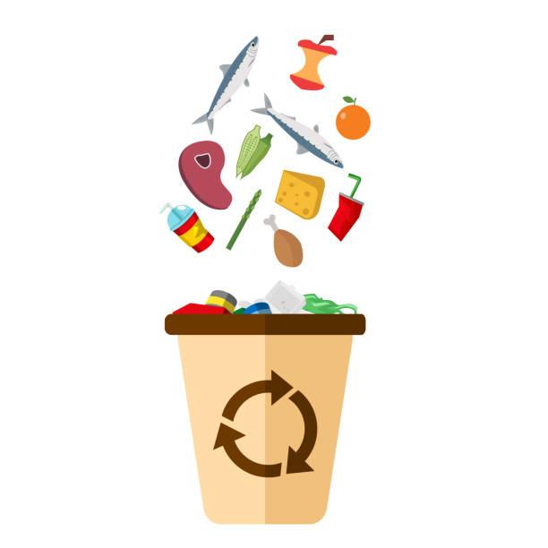 bildbanksillustrationer, clip art samt tecknat material och ikoner med sopor recycle bin vit bakgrund vektorbild - food waste