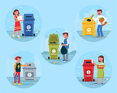 Garbage recycling bins flat illustrations set. Waste sorting round isolated vector clipart on blue background. People putting paper, plastic, glass in trash bin cartoon character. Material reuse