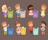 Garbage recycling. Kids protect environment ecology concept save nature collecting paper in bins vector people. Environment protect, garbage recycling illustration