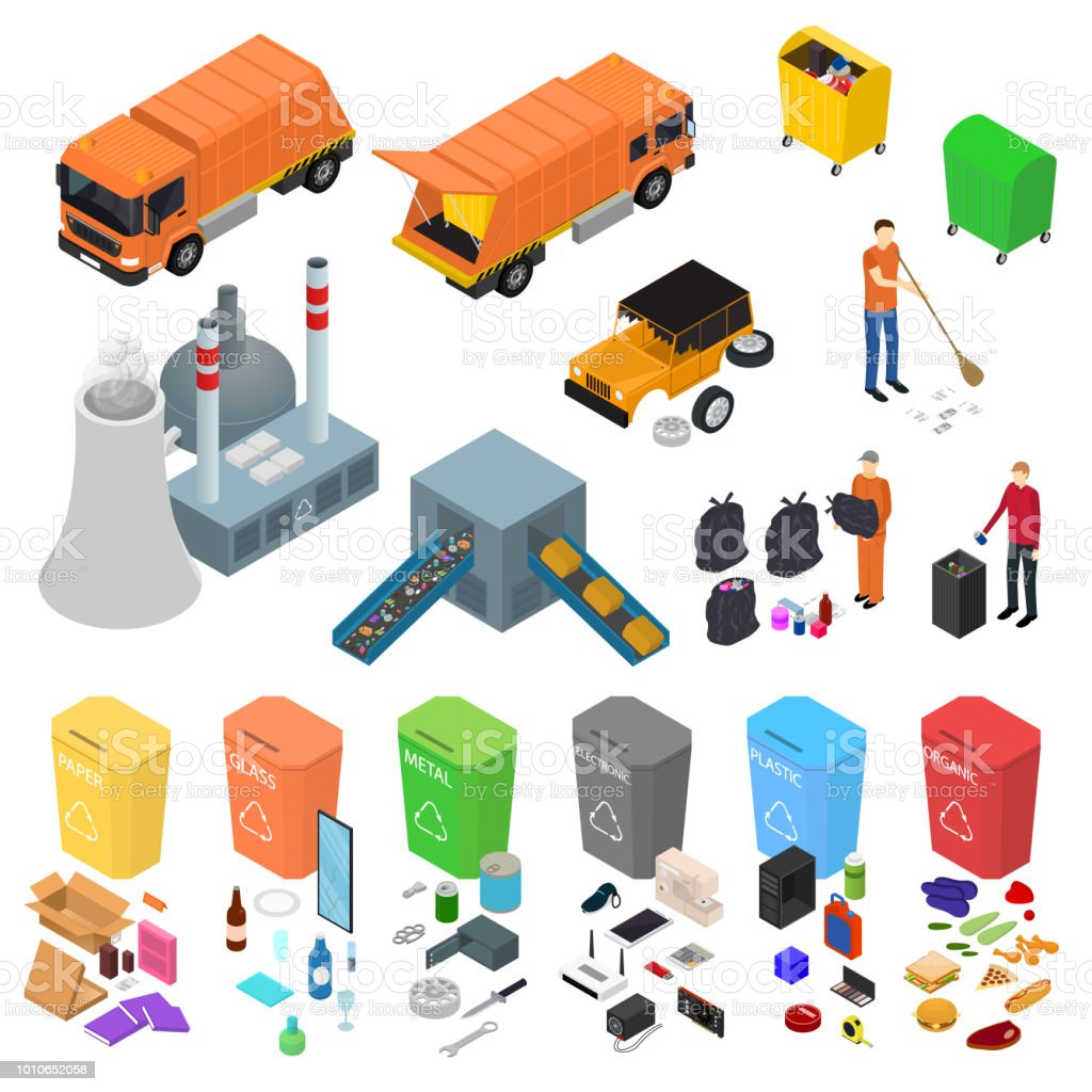 Garbage Recycling Signs 3d Icons Set Isometric View. Vector royalty-free garbage recycling signs 3d icons set isometric view vector stock illustration - download image now