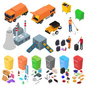 Garbage Recycling Signs 3d Icons Set Isometric View. Vector