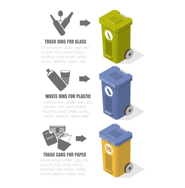 ilustrações de stock, clip art, desenhos animados e ícones de garbage recycling, trash cans, ecology icons, vector illustrations, isometric drawings, cleaning, plastic tanks, low-poly images - box separate life