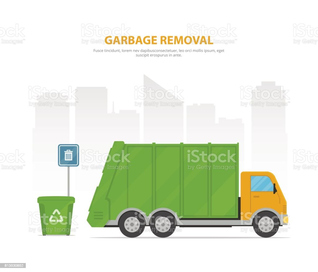 Garbage Removal Cartoon Banner With Garbage Truck And Dumpsters On